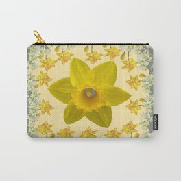 CREAMY SPRING DAFFODILS & FLOWERS GREY GARDEN Carry-All Pouch