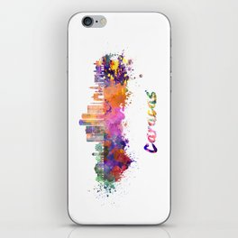 Caracas V2 skyline in watercolor splatters with clipping path iPhone Skin