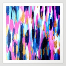 Spring Golden - Pink and Navy Abstract Kunstdrucke