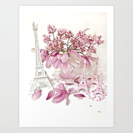 Pink Magnolia Spring Blossoms French Parisian Decor Art Print