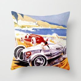 Vintage 1936 Monaco Grand Prix Racing Wall Art Throw Pillow