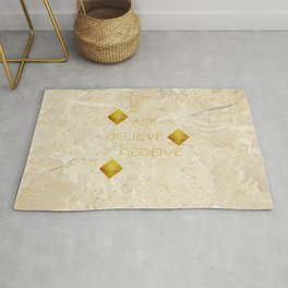 Ask believe receive beige tan marble and gold squares abstract typography design Rug