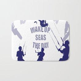 Wake Up Seas The Day Kiteboarder In Blue Shades Bath Mat