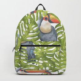 Watercolor Toucan Painting With Tropical Leaves Pattern Backpack