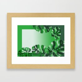 Leaves of Monstera leaves used as a backdrop. Design, tropical leaves. green backgrounds Framed Art Print