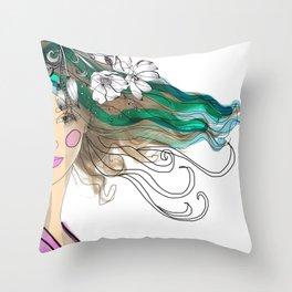 Mujer con flores Throw Pillow