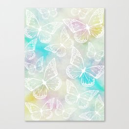 Pastel colored butterfly pattern, girly trend vintage design Canvas Print