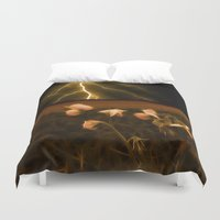 verse Duvet Covers featuring In darkest night one sees the flash but beauty soothes the karmic crash by Donuts