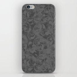 Modern Farmhouse Gray Damask Print Flower Vine on Weathered Background iPhone Skin
