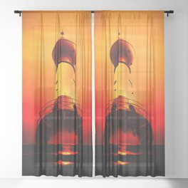 Lighthouse romance Sheer Curtain