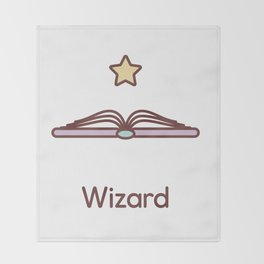 Cute Dungeons and Dragons Wizard class Throw Blanket