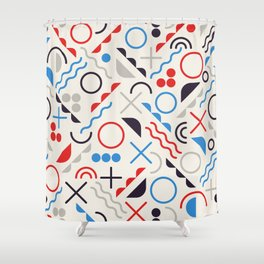Seamless Jumble Shapes in Blue Red White Color Geometric Retro Pattern  Shower Curtain