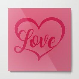 Valentine's Day Love Heart Shape Metal Print