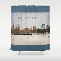 minneapolis Shower Curtains featuring Minneapolis by Kimberley Britt
