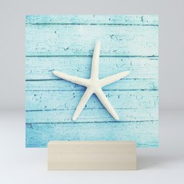 Starfish Beach Photography, Aqua Seashell Art, Coastal Nautical Photograph Mini Art Print