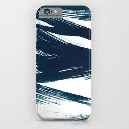 Gestural Abstract Indigo Blue Brush Strokes iPhone Case