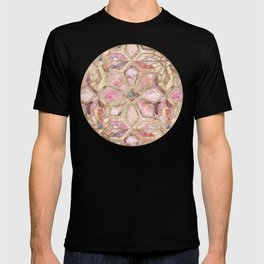 Geometric Gilded Stone Tiles in Blush Pink, Peach and Coral T-shirt