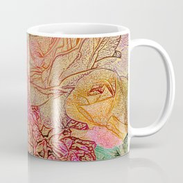 A Field Of Roses - Colored Pencil & Golden Highlights Coffee Mug