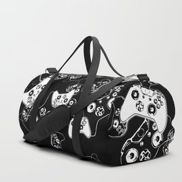 Video Game White on Black Duffle Bag