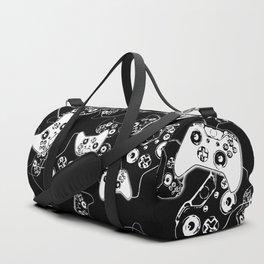 Video Game White on Black Duffle Bag