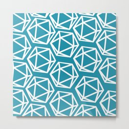 D20 Pattern - Blue White Metal Print