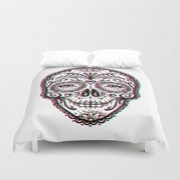 Sugar Skull (Calavera) Chromatic Aberration - Cyan Magenta Yellow Duvet Cover