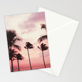 Tropical Palm Tree Pink Sunset Stationery Cards