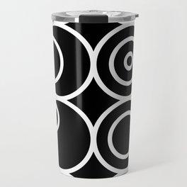 Circles - White on Black 1 Travel Mug