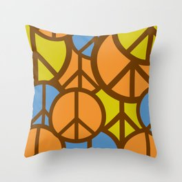 Cool Colorful Groovy Peace Symbols #society6 #decor #buyart #artprint Throw Pillow