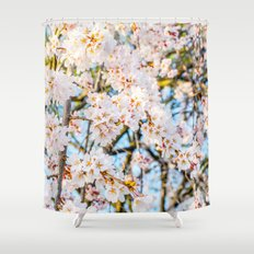 Floods of White & Pink Shower Curtain