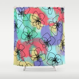 Hibiscus Family no.2 - hibiscus flower illustration floral pattern summer painting Shower Curtain