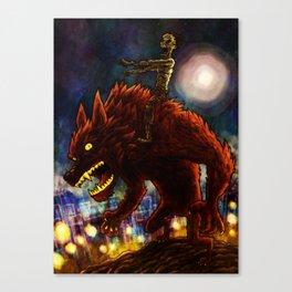 Zombie on Warewolf Canvas Print