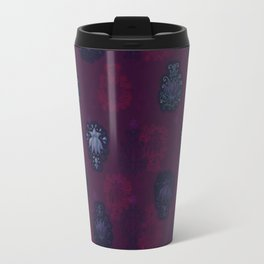 Lotus flower - blueberry purple woodblock print style pattern Travel Mug