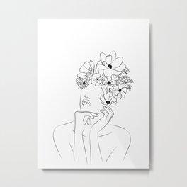 Dame fleur-Floral Illustration Woman, got the idea Metal Print