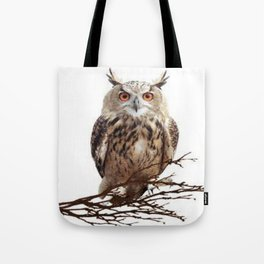 WILDERNESS BROWN OWL IN WHITE Tote Bag