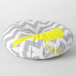 Yellow Bird on Gray Chevron Floor Pillow