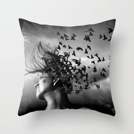 Flock of Crows Throw Pillow