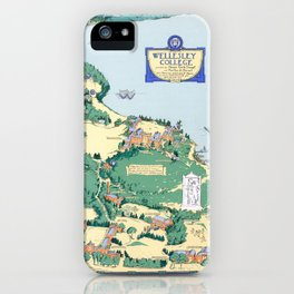 WELLESLEY College map MASSACHUSETTS dorm decor graduate iPhone Case