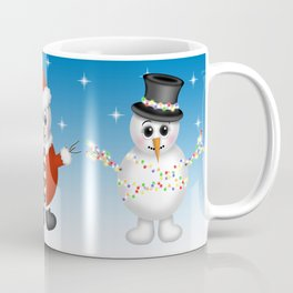 Cute Snowmen with Ornaments, Candy Cane and Strand of Lights Coffee Mug