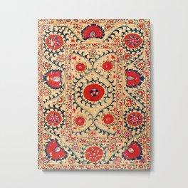 Samarkand Suzani Bokhara Uzbekistan Floral Embroidery Print Metal Print