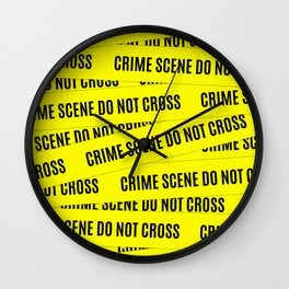 Crime Scene Tape Pattern Wall Clock