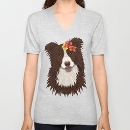 Tropical Brown Border Collie Girl Unisex V-Neck