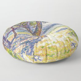 Théo van Rysselberghe - The Mediterranean at Le Lavandou (new color edit) Floor Pillow