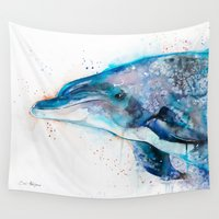 dolphin Wall Tapestries featuring Dolphin  by Slaveika Aladjova