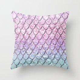 Mermaid Scales on Unicorn Girls Glitter #1 #shiny #pastel #decor #art #society6 Throw Pillow