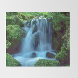Waterfall in the forest Throw Blanket