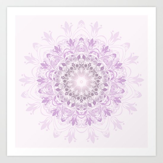 Purple Floral Mandala Art Print