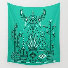 Santa Fe Garden – Turquoise & Black Wall Tapestry