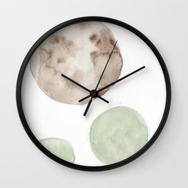 16|181104 Australian Leaf Green & Brown Earth Orbs | Watercolour Circle Abstract Geometrical Wall Clock
