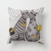hats Throw Pillows featuring Two Cats Without Hats by Judith Clay